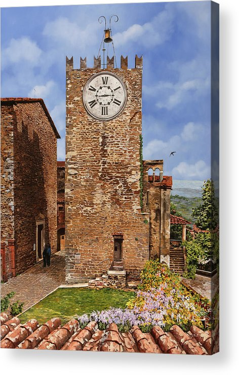 Tuscany Acrylic Print featuring the painting La Torre Del Carmine-montecatini Terme-tuscany by Guido Borelli