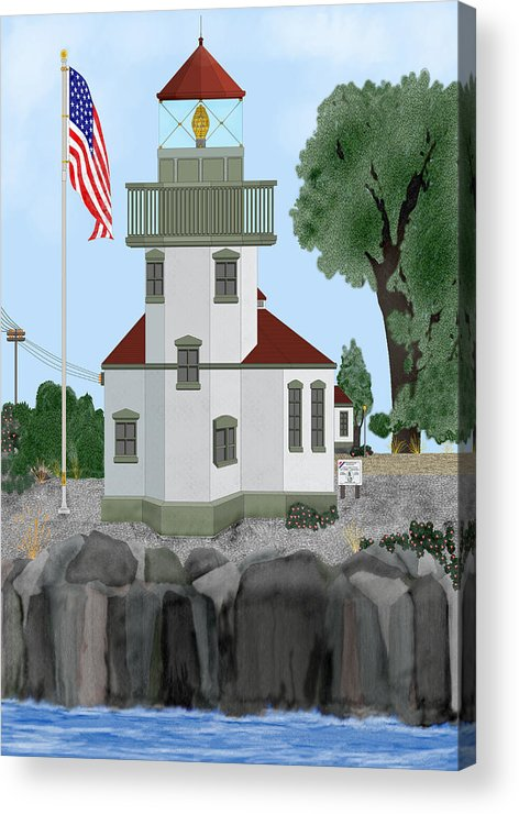 Lighthouses Acrylic Print featuring the painting Lime Kiln Light On San Juan Island by Anne Norskog
