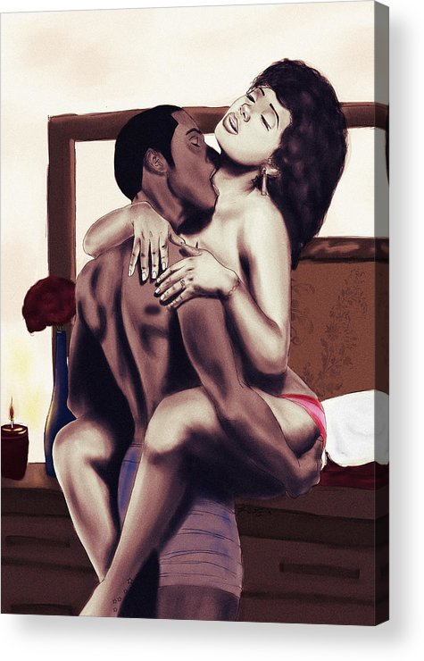 Lovers Acrylic Print featuring the painting Lovers Sensual Love by Kenal Louis