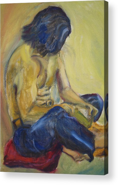 Male Acrylic Print featuring the painting Man Reading by Lessandra Grimley