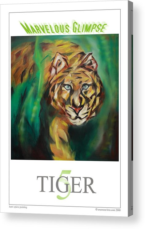 Tiger Acrylic Print featuring the painting Marvelous Glimpse by Harri Spietz