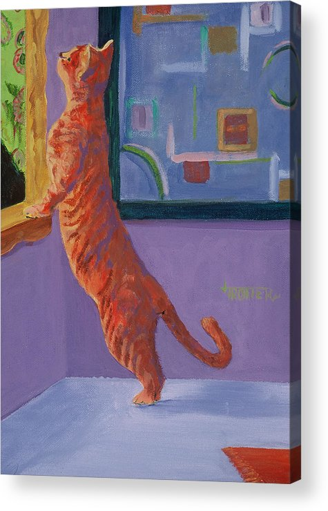 Animal Acrylic Print featuring the painting Museum Cat by Jimmie Trotter