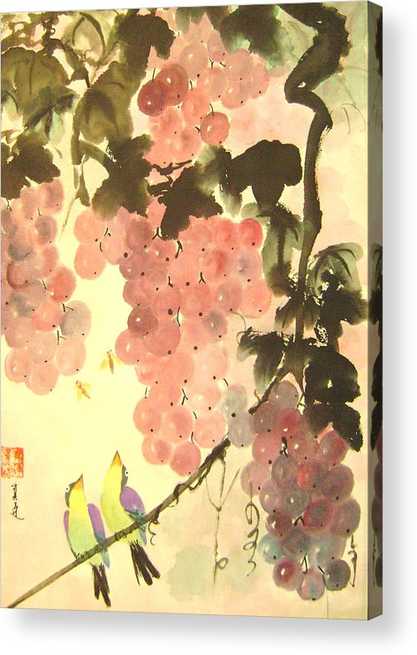 Water Colour Acrylic Print featuring the painting Pink Romance by Lian Zhen