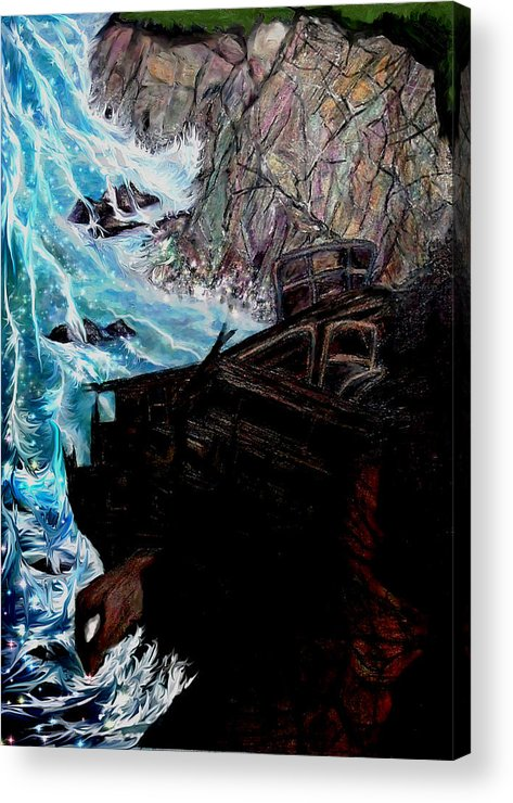 Shipwrecks Acrylic Print featuring the painting Precious Gem Mountain by Brenda L Spencer