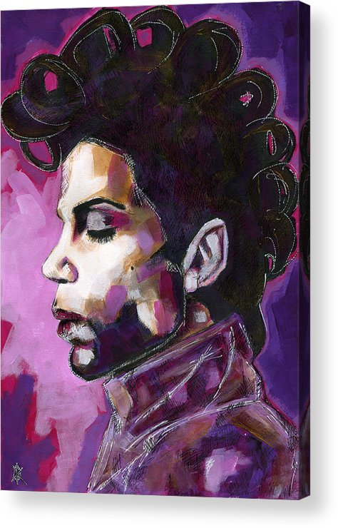 Prince Acrylic Print featuring the painting Prince Purple King by KM  Paintings