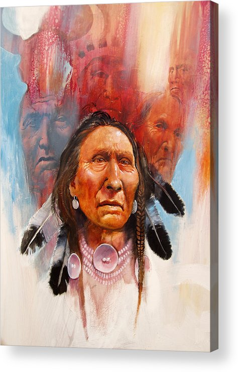 Native American Acrylic Print featuring the painting Proud Warrior by Robert Carver