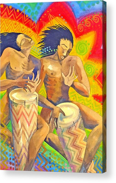 Drumming Caribbean Rythm Vibrance Colourful Rasta Acrylic Print featuring the painting Rasta Rythm by Jennifer Baird