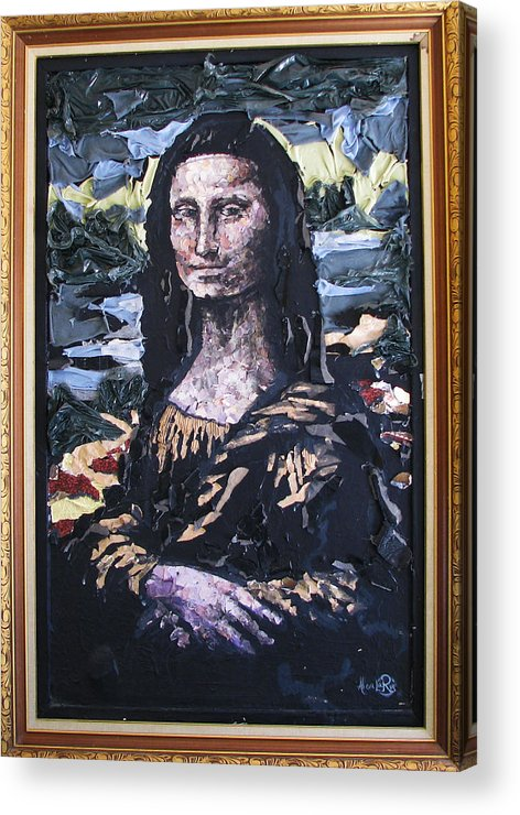 Mona Lisa Acrylic Print featuring the mixed media Recycled Mona by Alicia LaRue