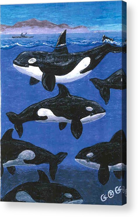 Orcas Acrylic Print featuring the painting Return Of The Whale by George I Perez