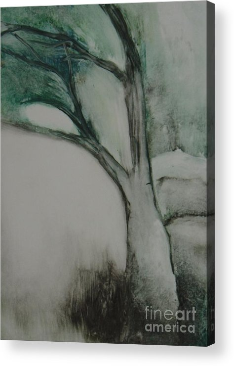 Monoprint Tree Rock Trees Acrylic Print featuring the painting Rock Tree by Leila Atkinson