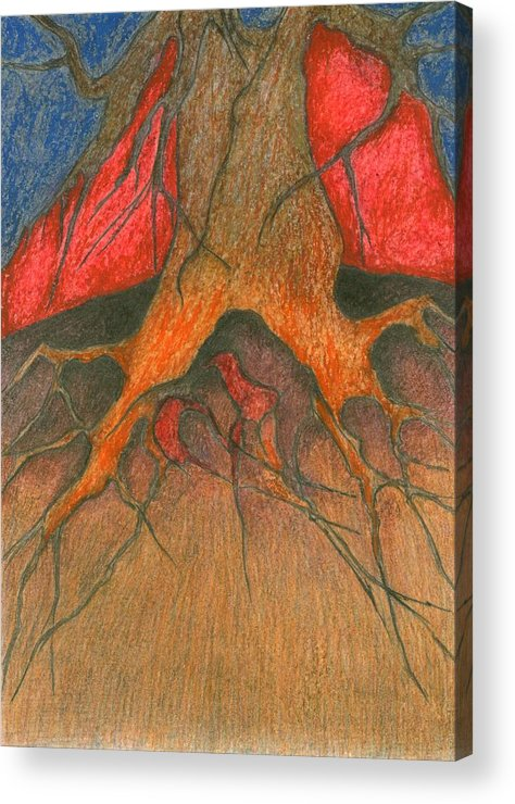 Colour Acrylic Print featuring the painting Roots by Wojtek Kowalski