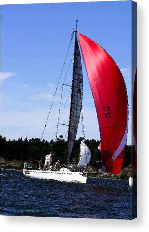 Red Acrylic Print featuring the photograph Sail Away - Watecolor by Mary Gaines