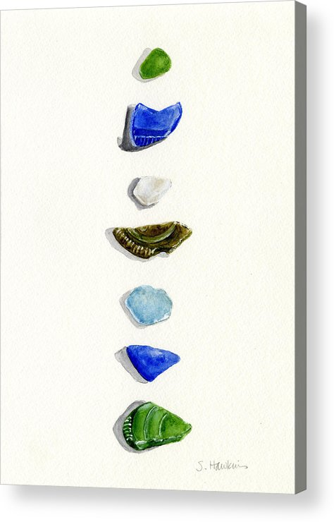 Sea Glass Acrylic Print featuring the painting Sea Glass Watercolor by Sheryl Heatherly Hawkins