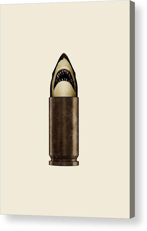 Bullet Acrylic Print featuring the digital art Shell Shark by Nicholas Ely