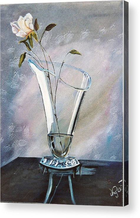 Vase Acrylic Print featuring the painting Simple Elegance by Joan Gossett