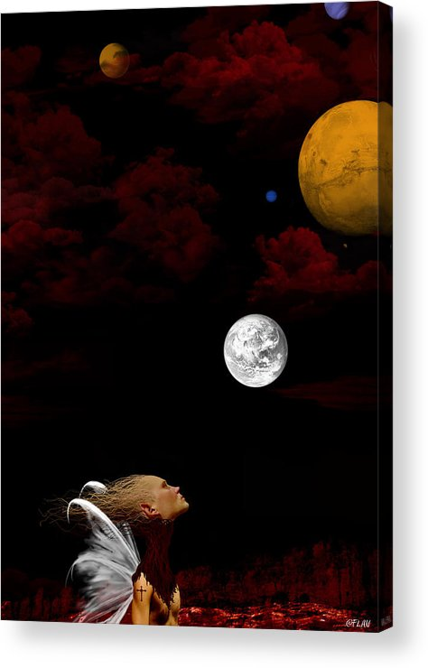 Moon Acrylic Print featuring the digital art Sometimes I Wonder by Ruben Flanagan