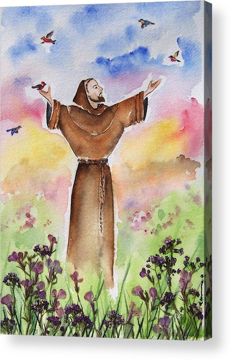 Catholic Acrylic Print featuring the painting St Francis Of Assisi by Regina Ammerman
