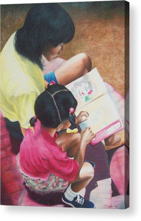 Colored Pencil Acrylic Print featuring the drawing Storytime On The Steps 1 by Sylvester Hickmon