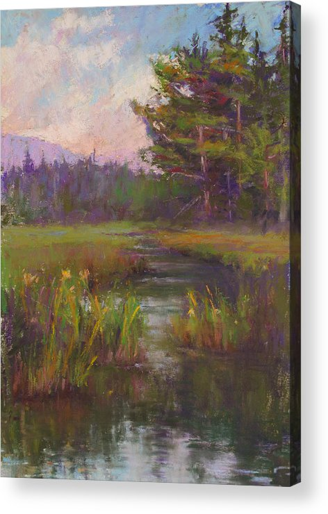 Landscapes Acrylic Print featuring the painting Summer Morning Beaver Marsh by Susan Williamson