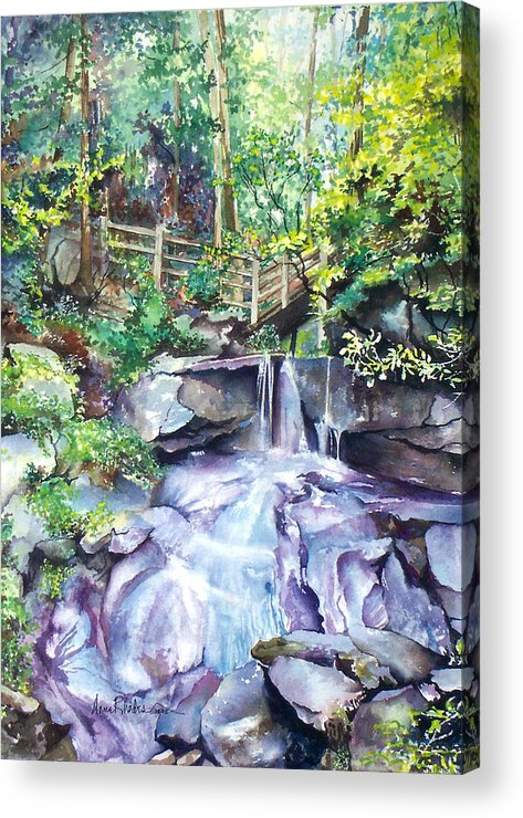 Waterfall Acrylic Print featuring the painting Tennessee Waterfall by Anne Rhodes
