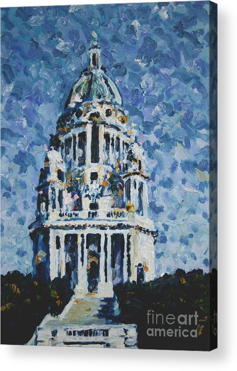 Ashton Memorial Acrylic Print featuring the painting The Ashton Memorial by Andy Mercer