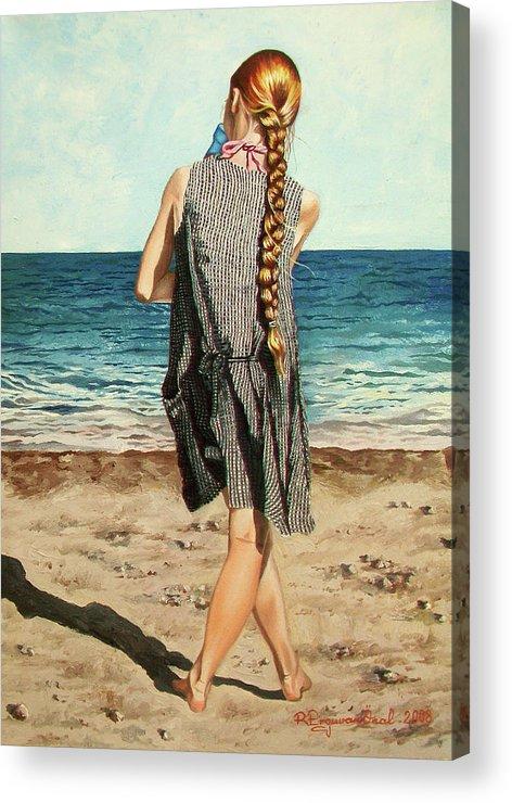 Sea Acrylic Print featuring the painting The Secret Beauty - La Belleza Secreta by Rezzan Erguvan-Onal