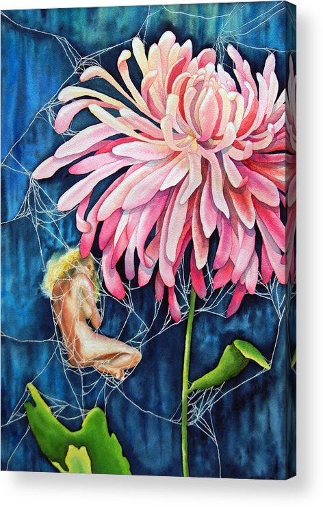 Floral Acrylic Print featuring the painting The Tender Trap by Gail Zavala