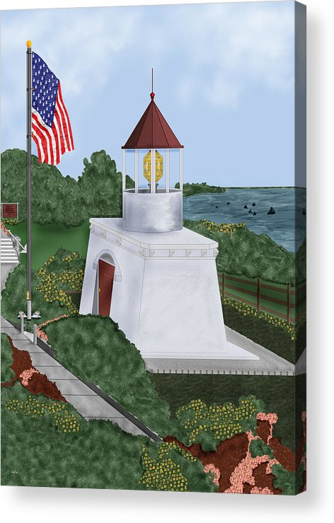 Trinidad Memorial Acrylic Print featuring the painting Trinidad Memorial Lighthouse by Anne Norskog