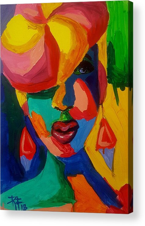 Portrait Acrylic Print featuring the painting Untitled by Roxalba Francisco