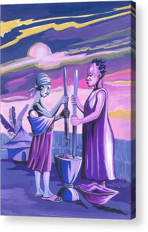 African Art Acrylic Print featuring the painting Women Pounding Cassava by Emmanuel Baliyanga