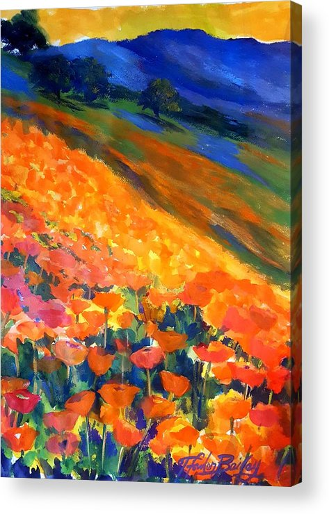 Poppies Acrylic Print featuring the painting Hillside Poppy Burst by Therese Fowler-Bailey