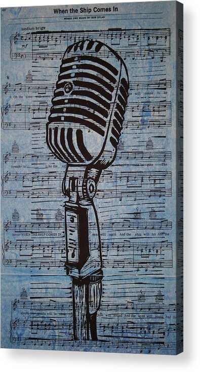 Mic Acrylic Print featuring the drawing Shure 55s On Music by William Cauthern
