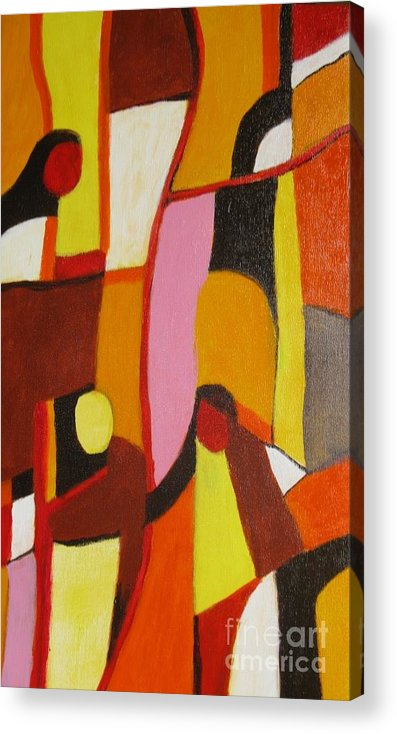 Semi Abstract Acrylic Print featuring the painting Four Women by Nedunseralathan R