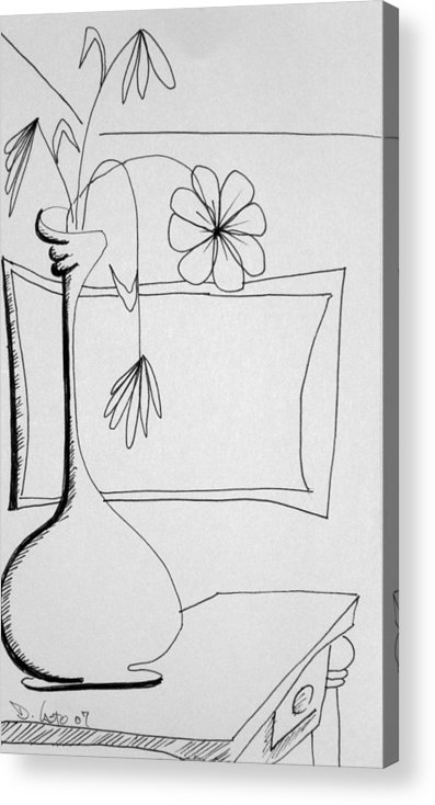 Still Life Acrylic Print featuring the drawing In Need Of Water by Denny Casto