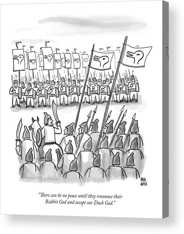 War Acrylic Print featuring the drawing An Army Lines Up For Battle by Paul Noth