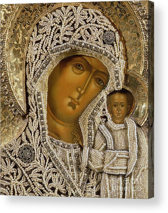 Black Madonna; Pearl; Negro Acrylic Print featuring the mixed media Detail Of An Icon Showing The Virgin Of Kazan By Yegor Petrov by Russian School