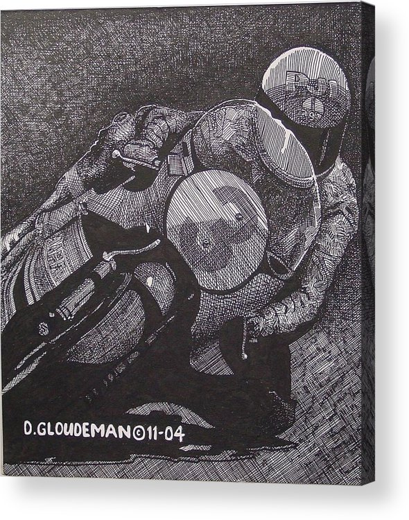 Sports Acrylic Print featuring the drawing Faster by Denis Gloudeman