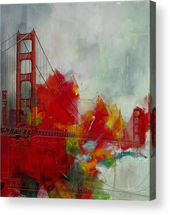 San Francisco Bay Acrylic Print featuring the painting San Francisco City Collage by Corporate Art Task Force