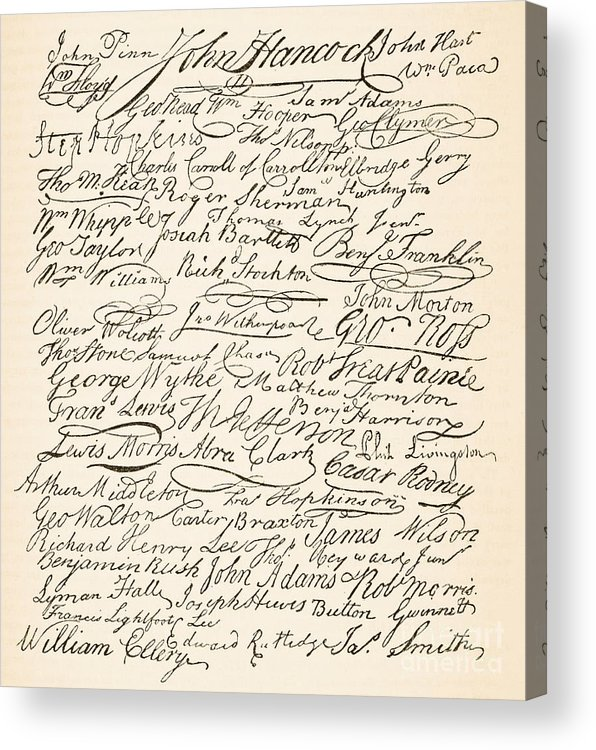 Signatures Attached To The American Declaration Of Independence Of 1776 Acrylic Print featuring the painting Signatures Attached To The American Declaration Of Independence Of 1776 by Founding Fathers