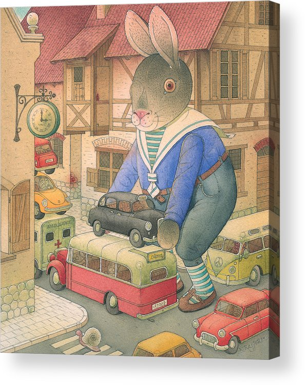 Rabbit Car Street Red Town Accident Acrylic Print featuring the painting Rabbit Marcus The Great 18 by Kestutis Kasparavicius