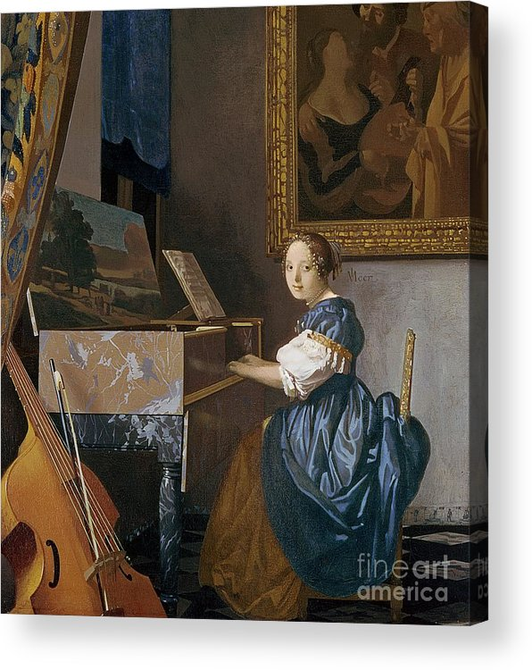 074a4b659ba A Young Lady Seated At A Virginal Acrylic Print by Jan Vermeer