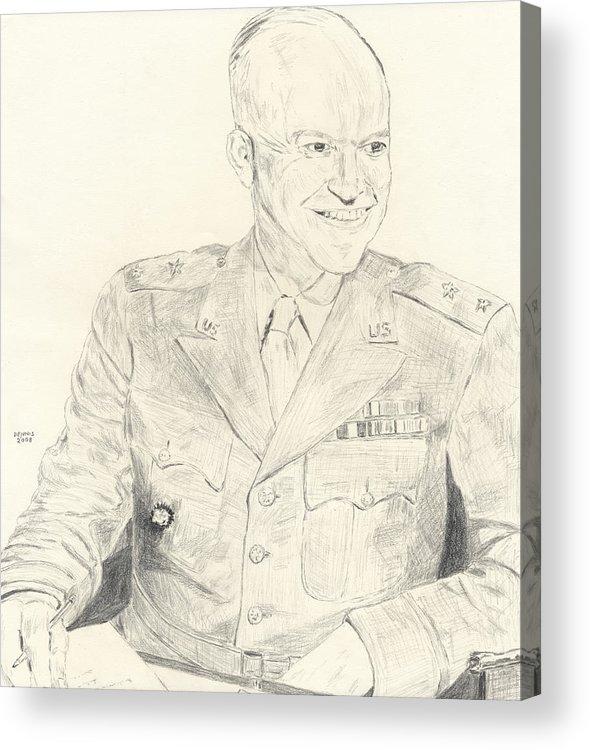 Dwight D. Eisenhower Acrylic Print featuring the drawing Dwight David Eisenhower by Dennis Larson