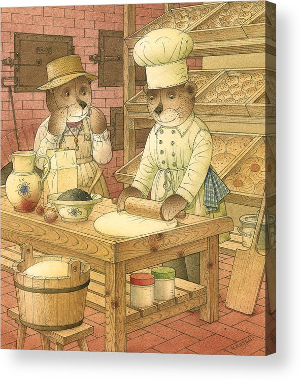Bears Kitchen Magic Bakery Gastronome Red Acrylic Print featuring the painting Florentius The Gardener14 by Kestutis Kasparavicius