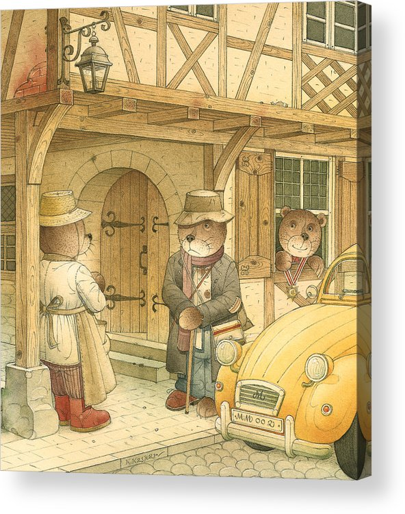 Bears Town Brown Acrylic Print featuring the painting Florentius The Gardener15 by Kestutis Kasparavicius