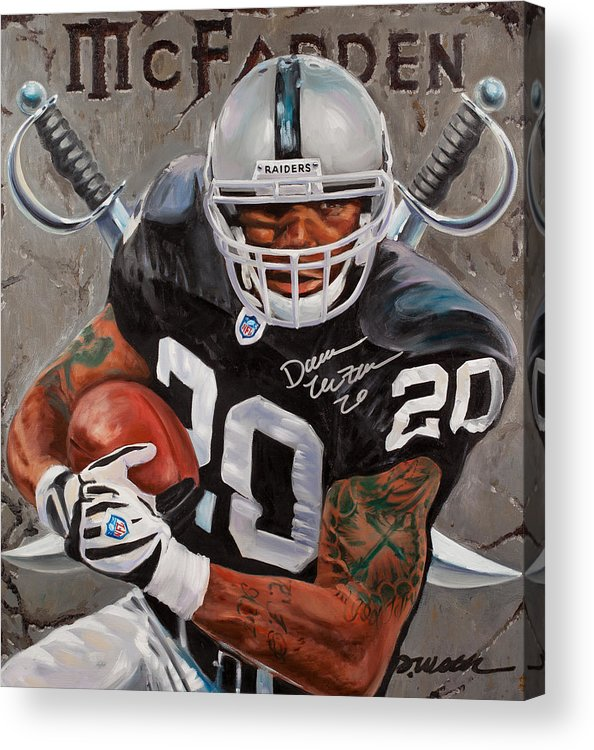 Darren Mcfadden Acrylic Print featuring the painting Franchise by Jim Wetherington