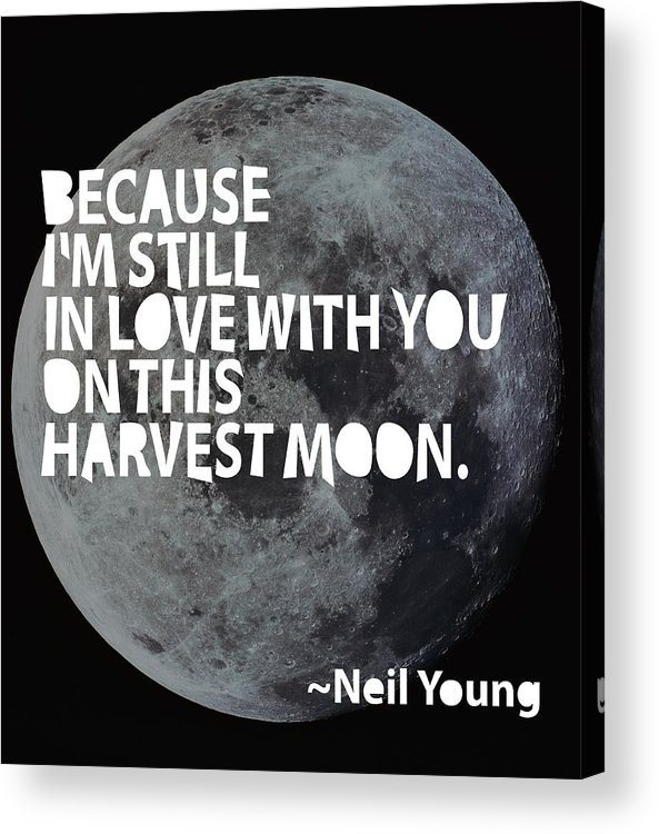 Neil Young Acrylic Print featuring the painting Harvest Moon by Cindy Greenbean
