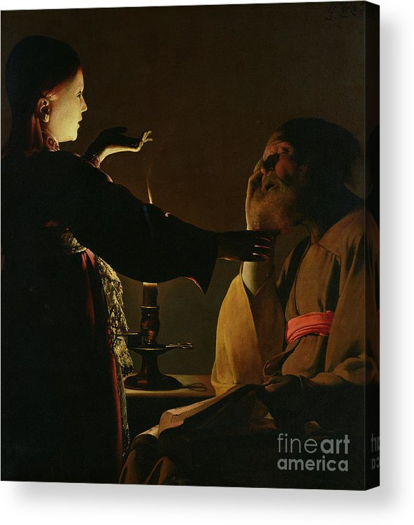 Joseph And The Angel Acrylic Print featuring the painting Jospeh And The Angel by Georges de la Tour
