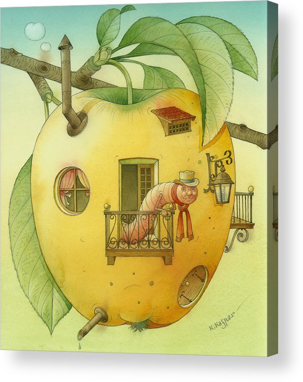 Landscape Apple Autumn Nature Illustration Yellow Home Acrylic Print featuring the painting New House by Kestutis Kasparavicius