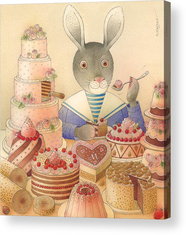 Food Rabbit Animal Rose Delicious Acrylic Print featuring the painting Rabbit Marcus The Great 01 by Kestutis Kasparavicius