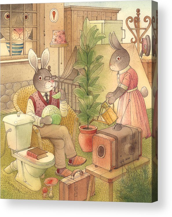 Rabbit Animal Illustration Summer Garden Acrylic Print featuring the painting Rabbit Marcus The Great 02 by Kestutis Kasparavicius